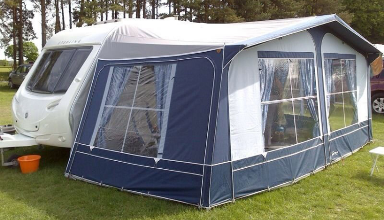 Blue and White Caravan Awning
