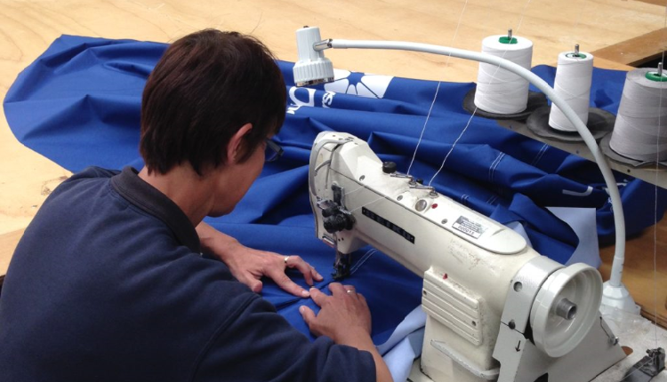 Sewing Blue Fabric